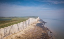 Aerial View Of  Seven Sisters And Beachy Head Lighthouse, East Sussex, England