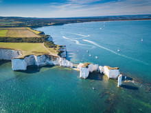 Aerial View Of Old Harry Rocks...