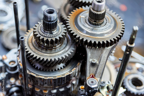 Fototapeta Close-up helical gears in car automatic transmission