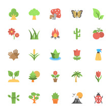 Nature And Ecology Flat Colored Icons 1