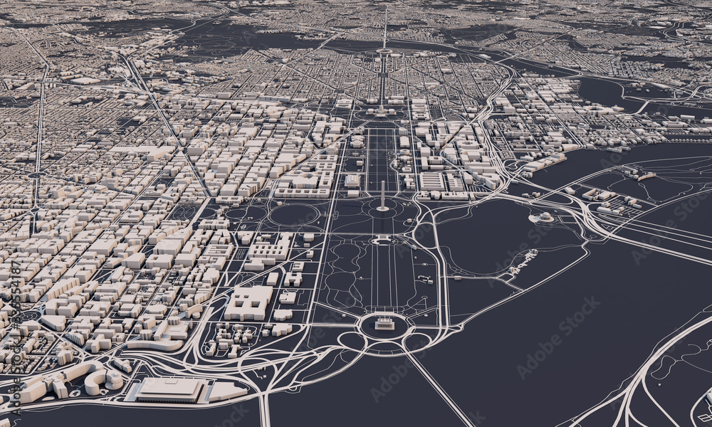 Fototapeta Washington DC city map 3D Rendering. Aerial satellite view.