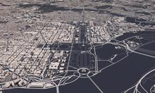 Washington DC City Map 3D Rendering. Aerial Satellite View.