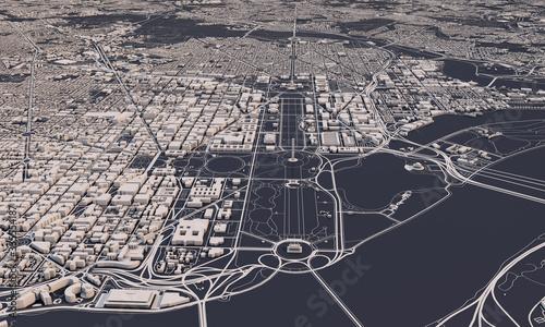 Fotomural Washington DC city map 3D Rendering. Aerial satellite view.