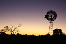 Sunset In Australian Desert Wi...