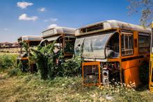 Destroyed Buses On The Tank Graveyard In Asmara, Eritrea