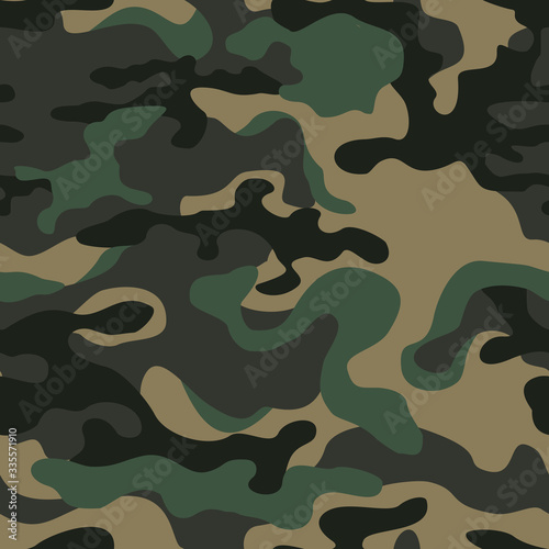 Fotografiet Camouflage green. Military pattern. Print. Vector