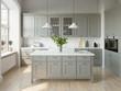 Leinwanddruck Bild 3d rendering of a light grey scandinavian kitchen with island