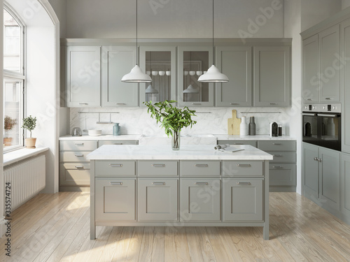 Obraz na plátně 3d rendering of a light grey scandinavian kitchen with island