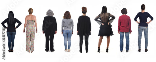Stampa su Tela rear view of women on white background
