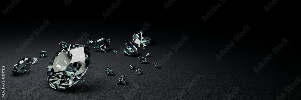 Fototapeta 3D Rendering many size diamonds on dark gray  surface