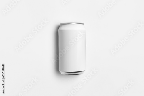 White blank Soda Can Mock-up isolated on light gray background Wallpaper Mural