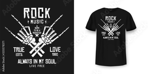 Obraz Rock music t-shirt graphic design with skeleton. Rock music slogan for t-shirt print and poster. Skeleton hands with grunge texture in vintage and hipster style - fototapety do salonu