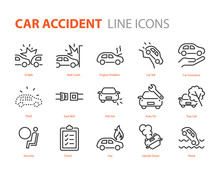 Set Of Car Accident Icons, Cas...