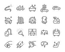 Set Of Car Wash Icons, Washing...