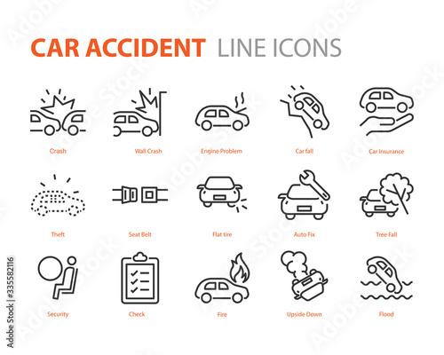 Fototapeta set of car accident icons, cash, insurance, danger obraz