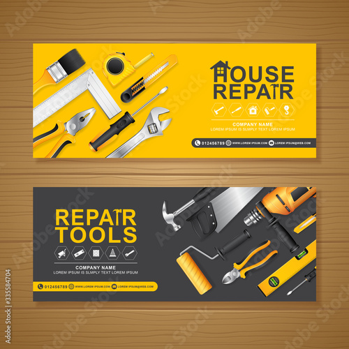 construction tools banner template for a report and brochure design, flyer, leaf Fototapete