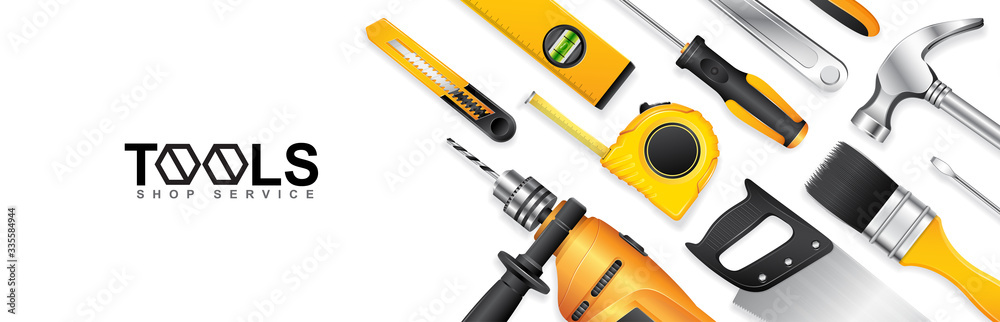Fototapeta Construction concept tools shop service banner set all of tools supplies for house repair builder on white background vector illustration