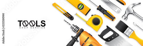 Fotografering Construction concept tools shop service banner set all of tools supplies for hou