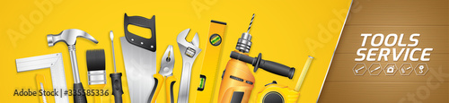 Foto Construction concept tools shop service horizontal banner and flat icons set all