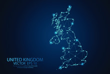 Abstract Mash Line And Point Scales On Dark Background With Map Of United Kingdom. UK Wire Frame 3D Mesh Polygonal Network Line, Design Sphere, Dot And Structure. Vector Illustration Eps 10.