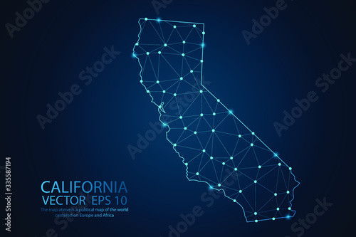 Fotomural Abstract mesh line and point scales on dark background with map of California