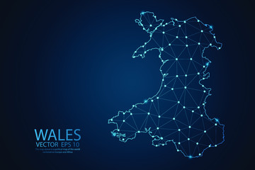 Abstract mash line and point scales on Dark background with map of Wales. Wire frame 3D mesh polygonal network line, design polygon sphere, dot and structure. Vector illustration eps 10.