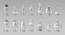 Perfume Bottles. Realistic 3D Glass Containers For Fragrance Water, Aroma Cosmetic Spray Flask. Vector Container Makeup Glossy Cristales Vial Set On Transparent Background