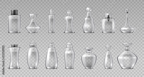 Fototapeta Perfume bottles. Realistic 3D glass containers for fragrance water, aroma cosmetic spray flask. Vector container makeup glossy cristales vial set on transparent background obraz