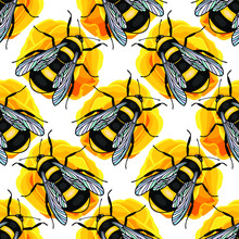 Bumblebee Insect Seamless Pattern And Rose Flowers. Eps10 Vector Stock Illustration