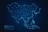 Streszczenie skale zacieru i punktowe na ciemnym tle z mapą Azji. Siatka druciana, siatka 3D, wielokątna linia sieci, kula projektowa, kropka i struktura. Ilustracja wektorowa eps 10.
