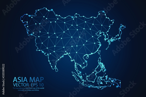 Fototapeta Abstract mash line and point scales on dark background with map of Asia. Wire frame 3D mesh polygonal network line, design sphere, dot and structure. Vector illustration eps 10. obraz