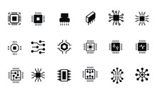 Computer Chips Icons Set Vect...