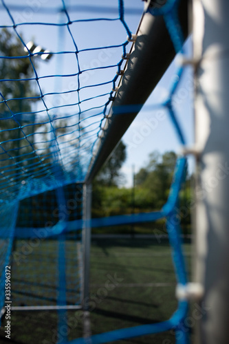 Fototapeta bramka piłkarska na boisku na orliku obraz