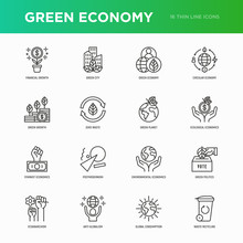 Green Economy Thin Line Icons ...