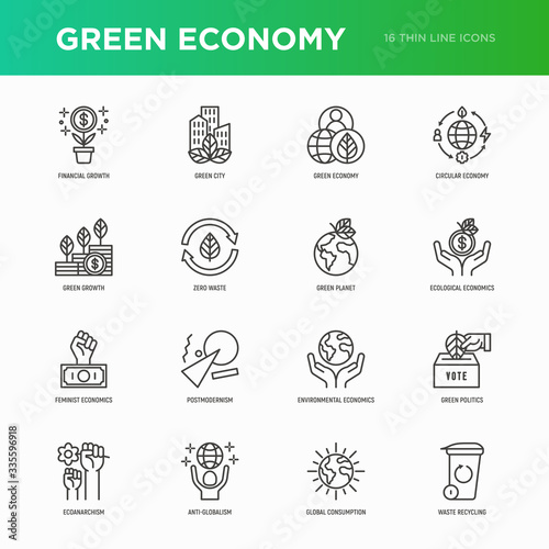Fototapeta Green economy thin line icons set: financial growth, green city, zero waste, circular economy, green politics, anti-globalism, global consumption. Vector illustration for environmental issues. obraz na płótnie