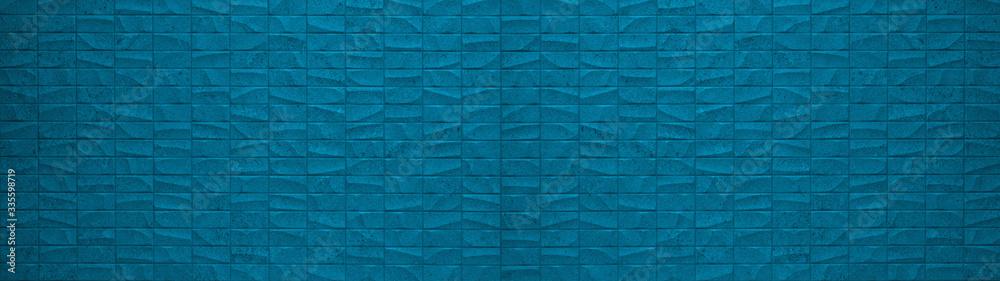 Fototapeta Rectangle geometric blue stone concrete cement tiles texture background panorama banner long
