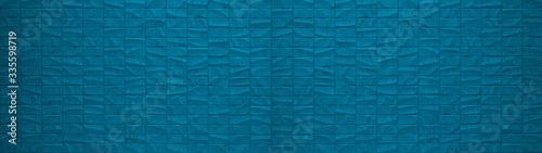 Rectangle geometric blue stone concrete cement tiles texture background panorama Fototapet