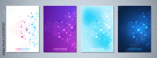 Fotomural Set of template brochures or cover design, book, flyer, with molecules background and neural network