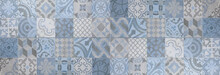 Blue Gray White Bright Vintage Retro Geometric Square Mosaic Motif Cement Tiles Texture Background Banner Panorama