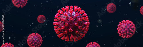 Corona virus background header with Sars-CoV-2 virus as realistic 3D rendering ( Fototapet