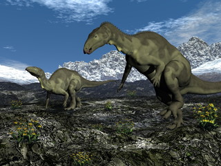 Two camptosaurus dinosaurs walking together by day - 3D render
