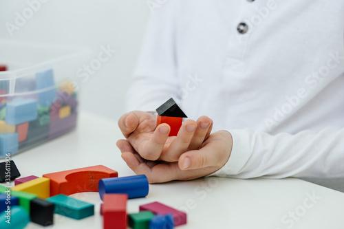 Concept of autism diagnosis and child development Canvas Print