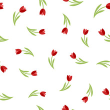 Floral Red Tulips Seamless Vec...