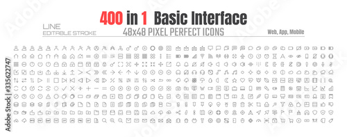 48x48 Pixels Perfect User Interface Basic Simple Set Thin Line Icons. People User Profile, Message, Document file, Call, Music, Camera, Arrow, Chat, Button, Shop, Home, App, Web, etc. Editable Stroke