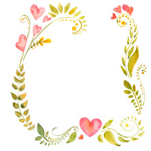 Watercolor Floral Frame With H...