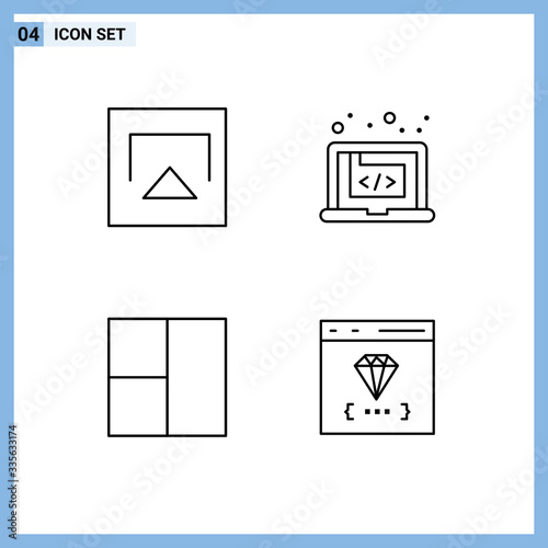 Modern Set of 4 Filledline Flat Colors and symbols such as air, layout, applicat Canvas Print