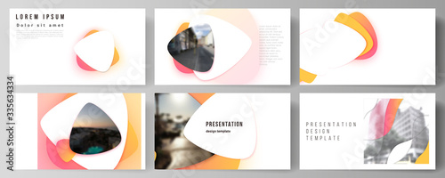 Fototapeta Minimalistic abstract vector illustration of the editable layout of the presentation slides design business templates. Yellow color gradient abstract dynamic shapes, colorful geometric template design obraz