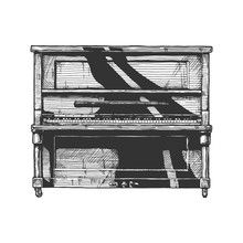 Illustration Of Upright Piano.