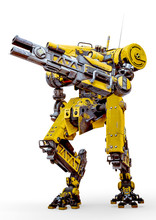 Yellow Combat Mech Load A Gun In A White Background