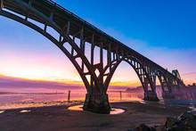 Yaquina Bay Bridge At Dusk
